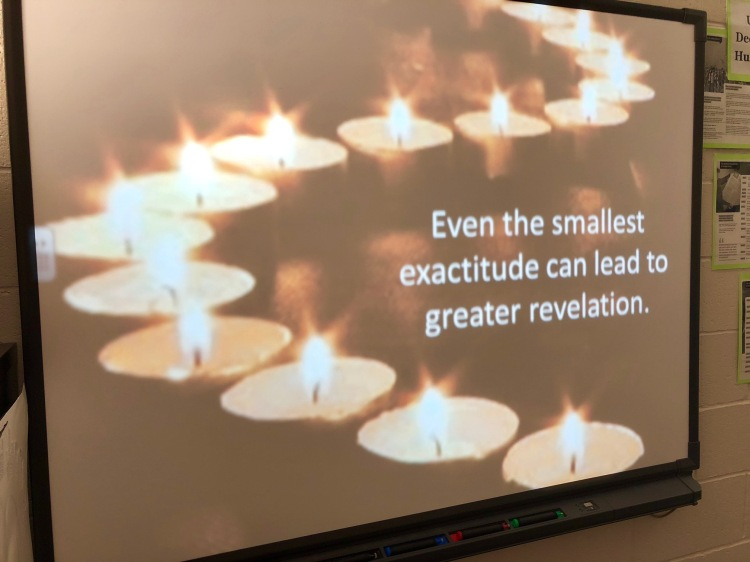 "A slide with the author Bill Roorbach's advice, ""Even the smallest exactitude can lead to greater revelation."""