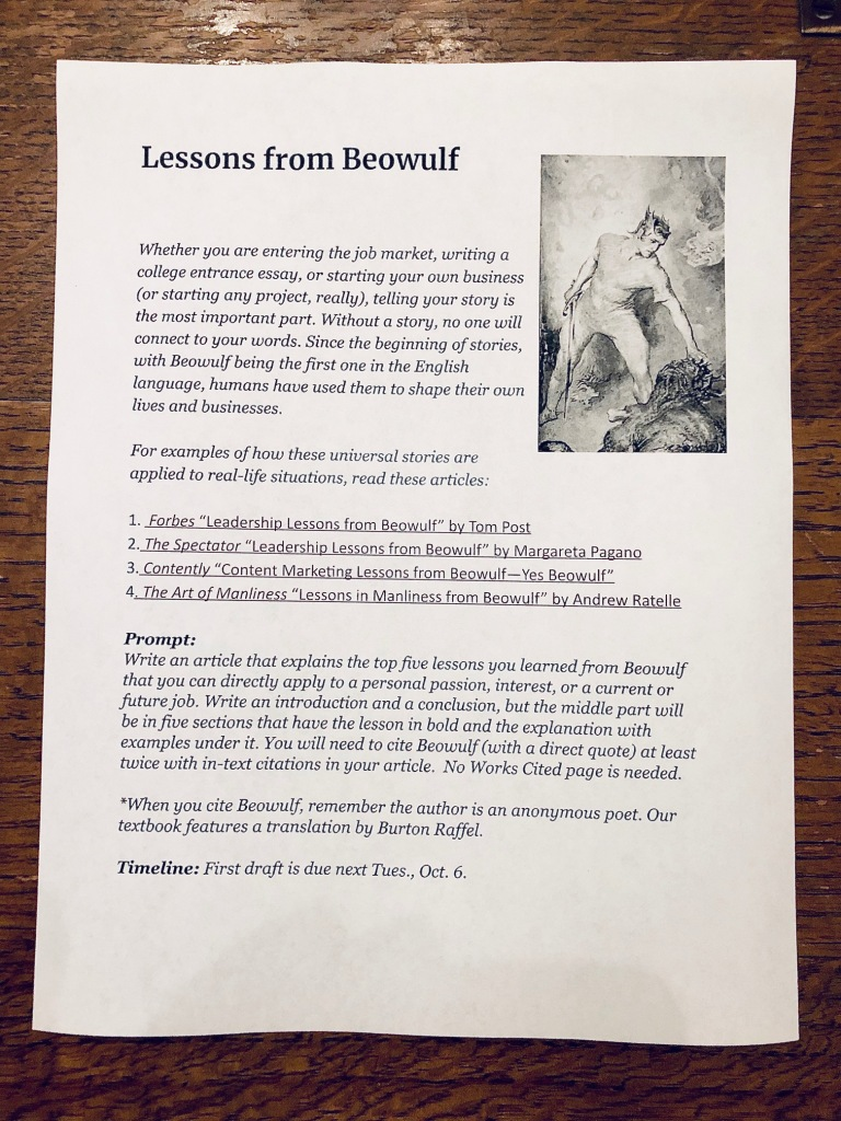 Life Lessons from Beowulf assignment sheet