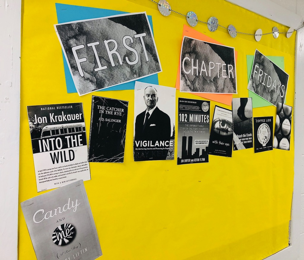 First Chapter Friday bulletin board in my English classroom.