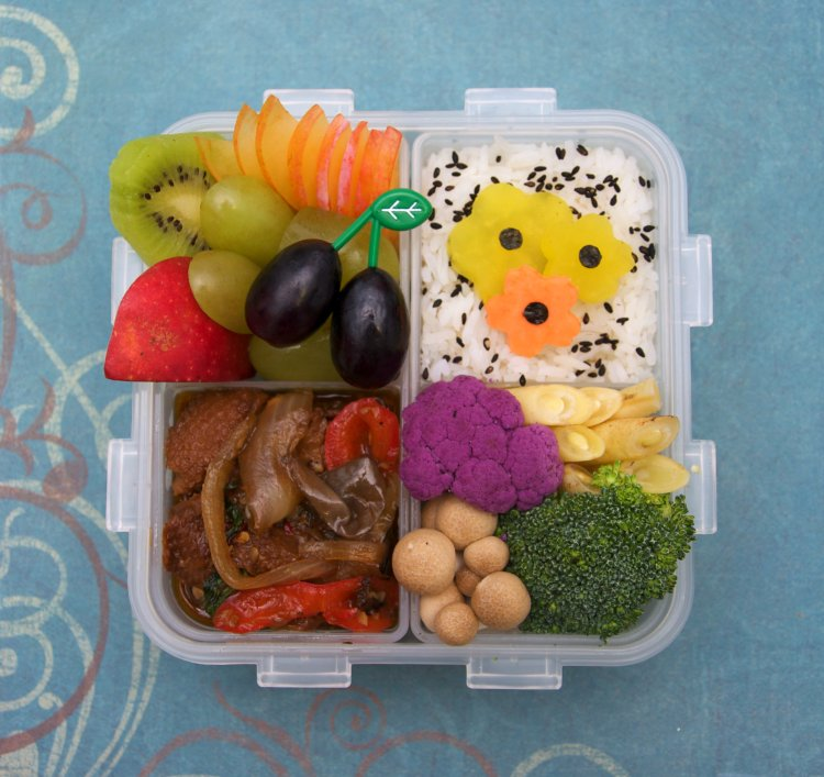A Japanese bento meal