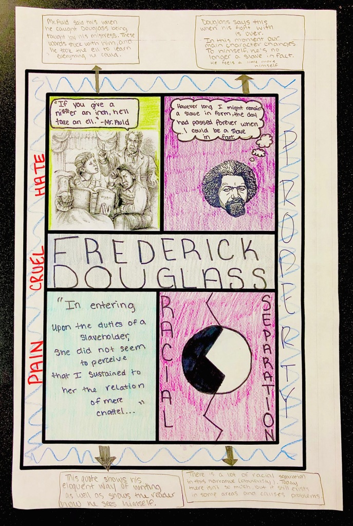One-Pager example made by a high school student for Frederick Douglass' Narrative.