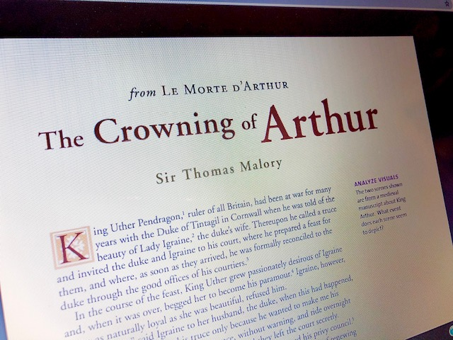 An excerpt from Le Morte d'Arthur can help high school students understand the stories better.
