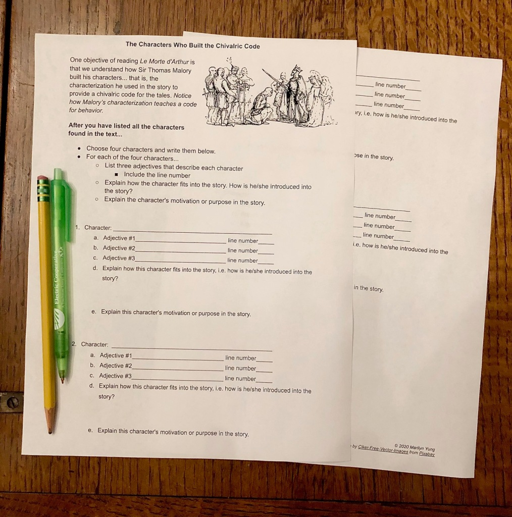 This worksheet for high school students teaches students about characterization in Le Morte d'Arthur.