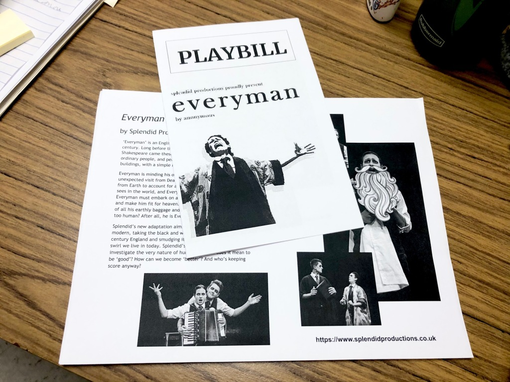 A playbill resource Marilyn Yung made for Everyman, the morality play.