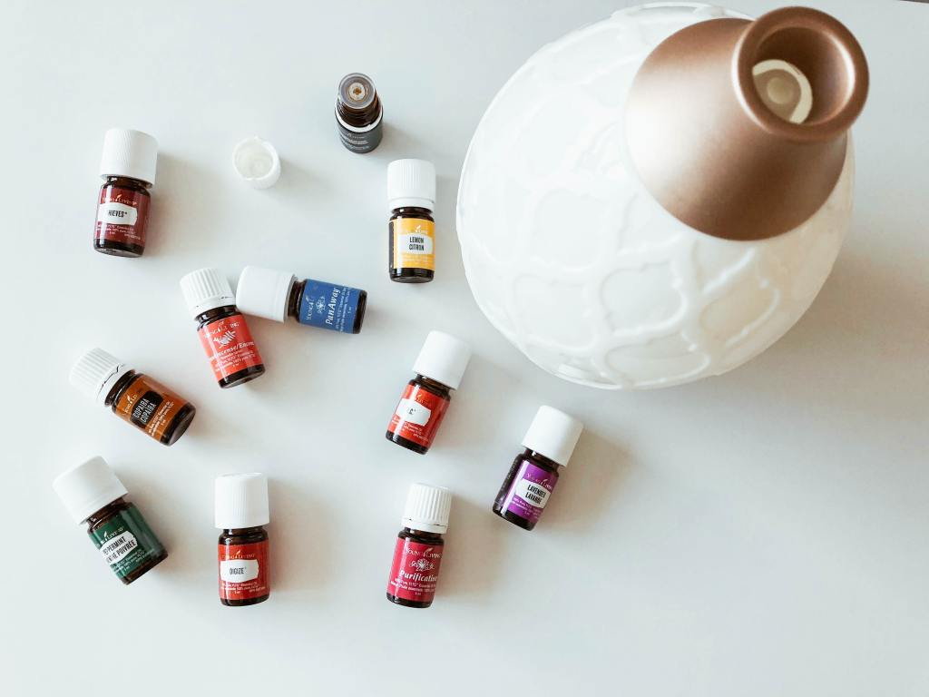 Assorted essential oils are another form of teacher self-care.