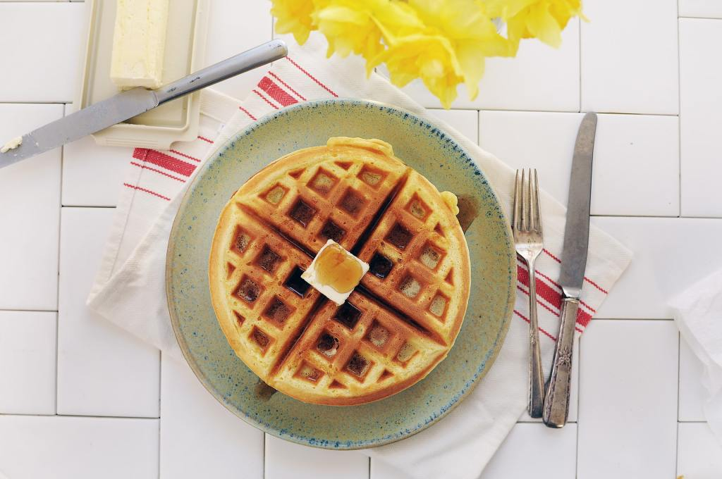 A plate of waffles. I announce the breakfast menu in an Italian accent... a weird kind of teacher self-care.