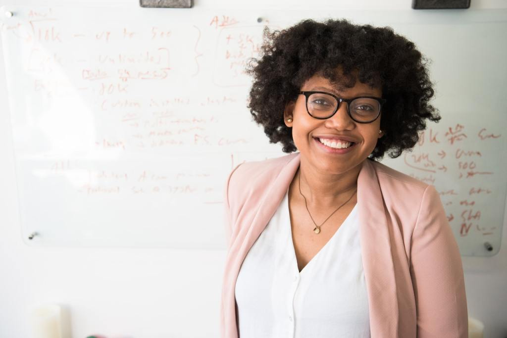 """This photo of a smiling teacher reminds me of Ms. Sams being in her """"zone."""" Teacher self-care starts with having your own """"zone."""""""