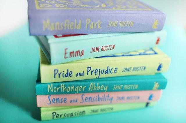 A stack of Jane Austen novels.