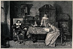 John Milton dictating to his daughters the text of Paradise Lost.