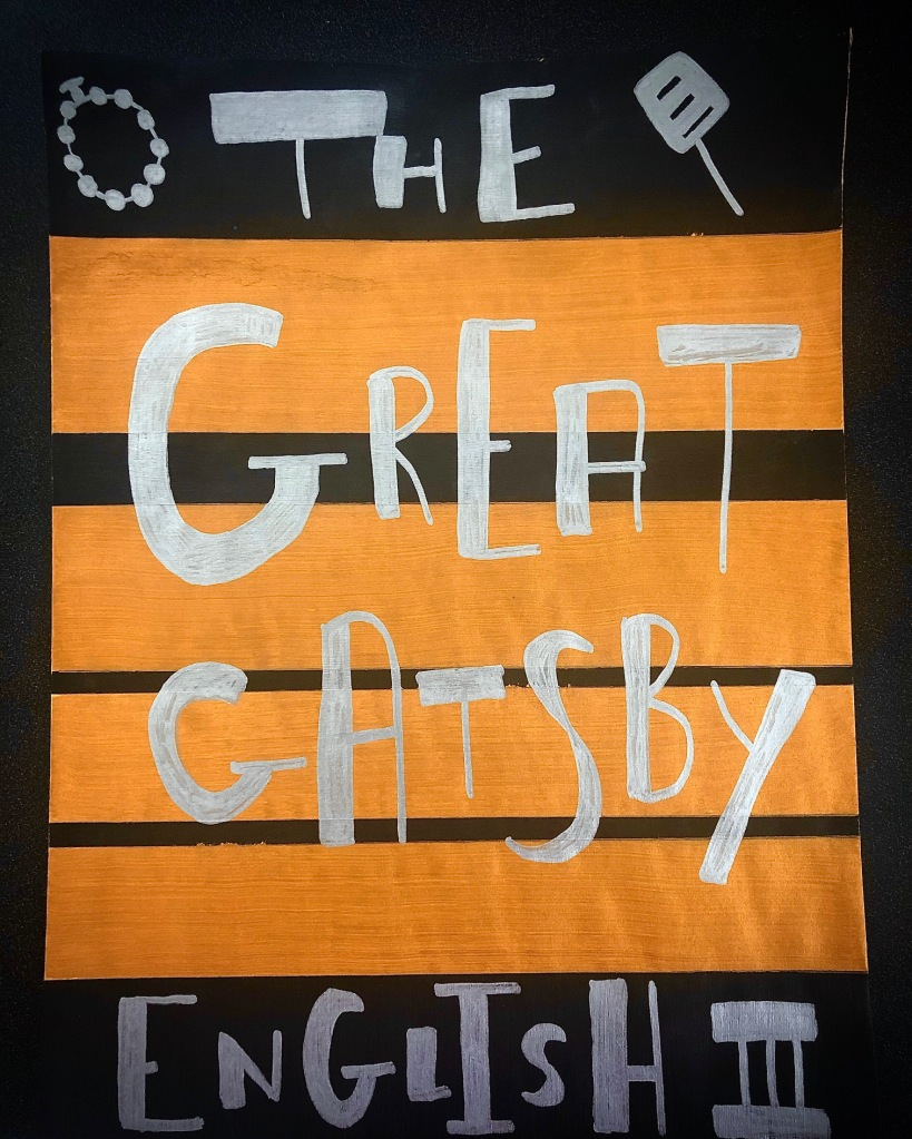 An envelope decorated with The Great Gatsby handwriting will be used to hold a student's sketch notes.