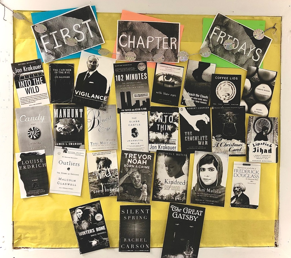 First Chapter Friday bulletin board shows the covers of all the books I read the first chapters of this year.