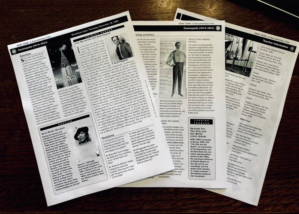 Worksheets from New York: The Documentary video.