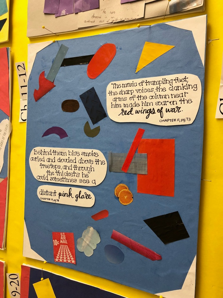 A student's color collage for The Red Badge of Courage