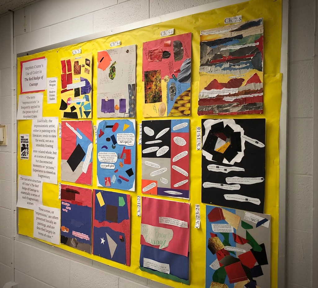 High school English class bulletin board showing the class' color collages of The Red Badge of Courage