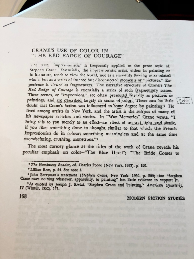An article published in 1960 about The Red Badge of  Courage and color by Claudia Wogan