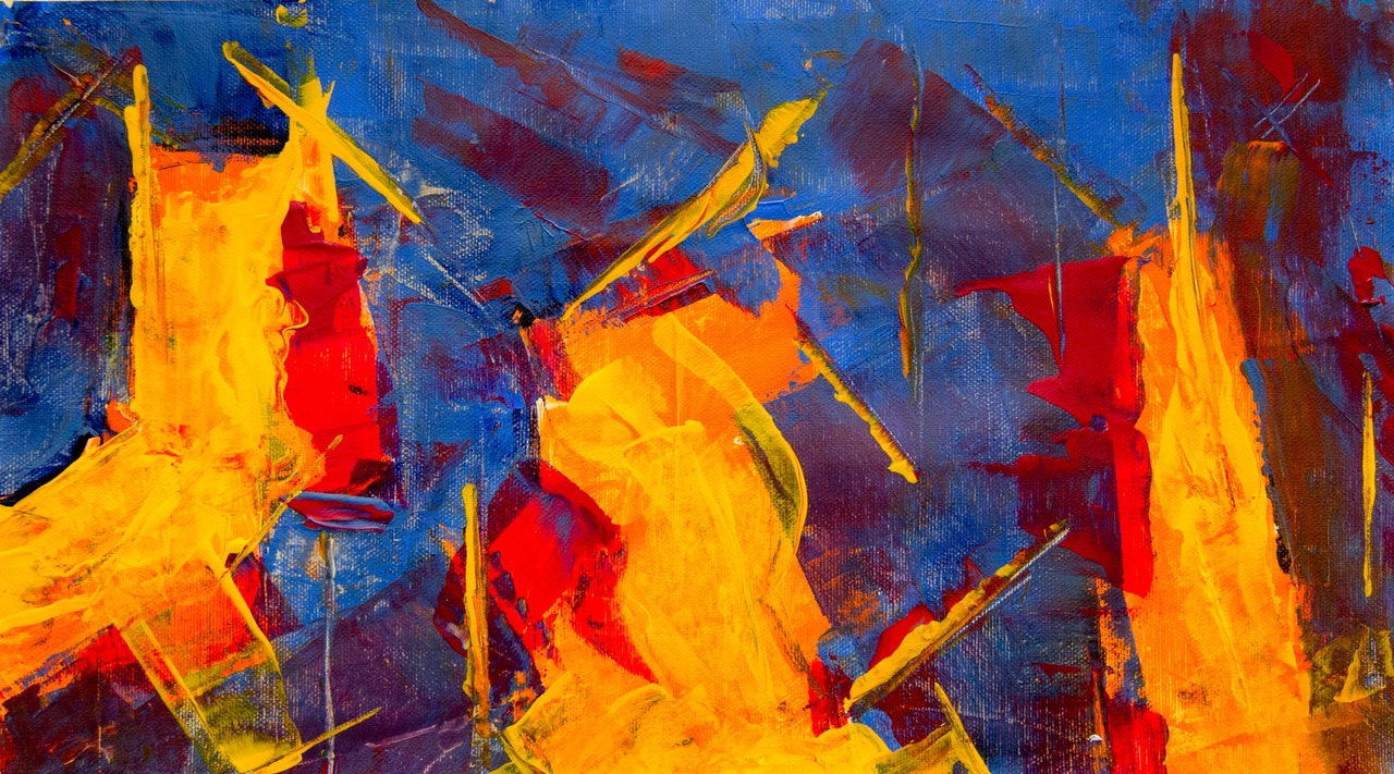 red, yellow, and blue paint composition