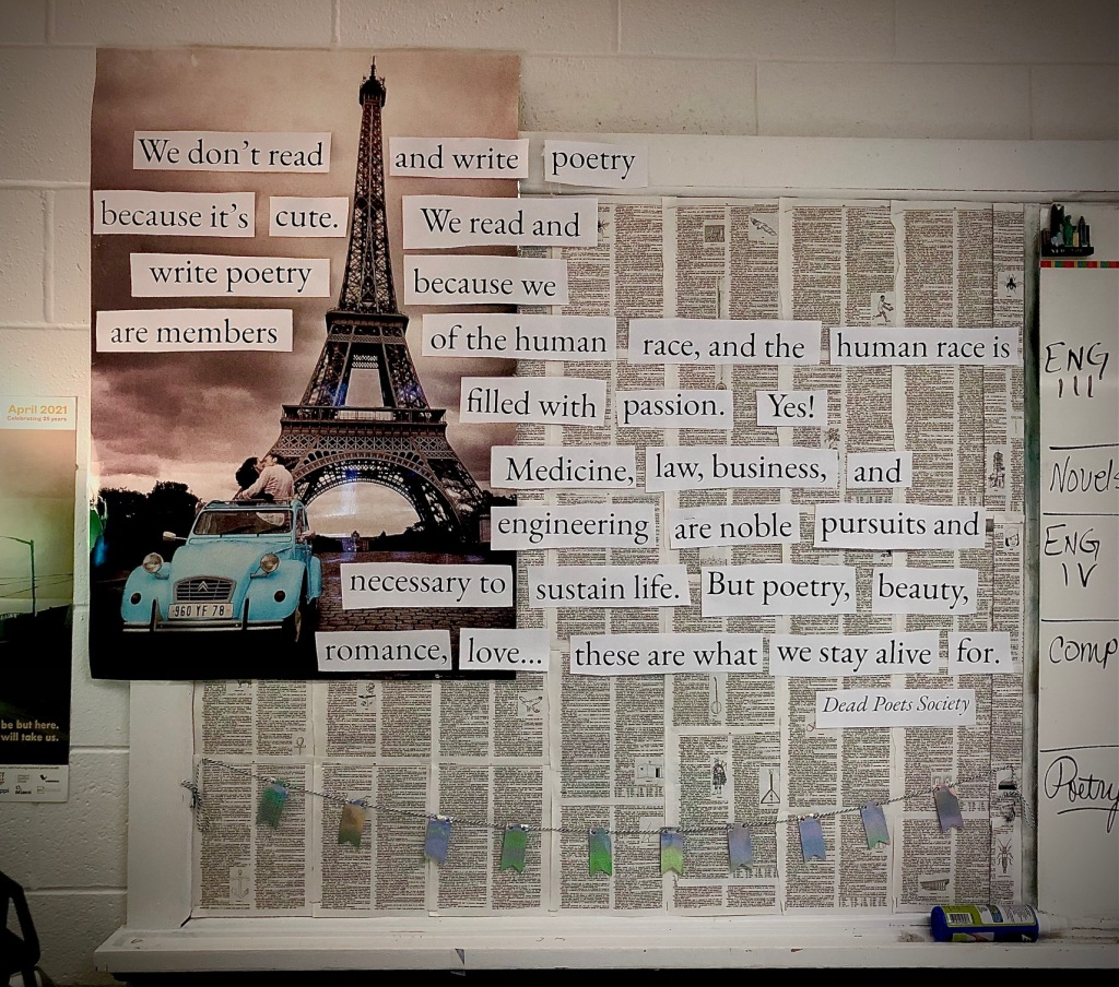 poetry bulletin board with quote from Dead Poets Society