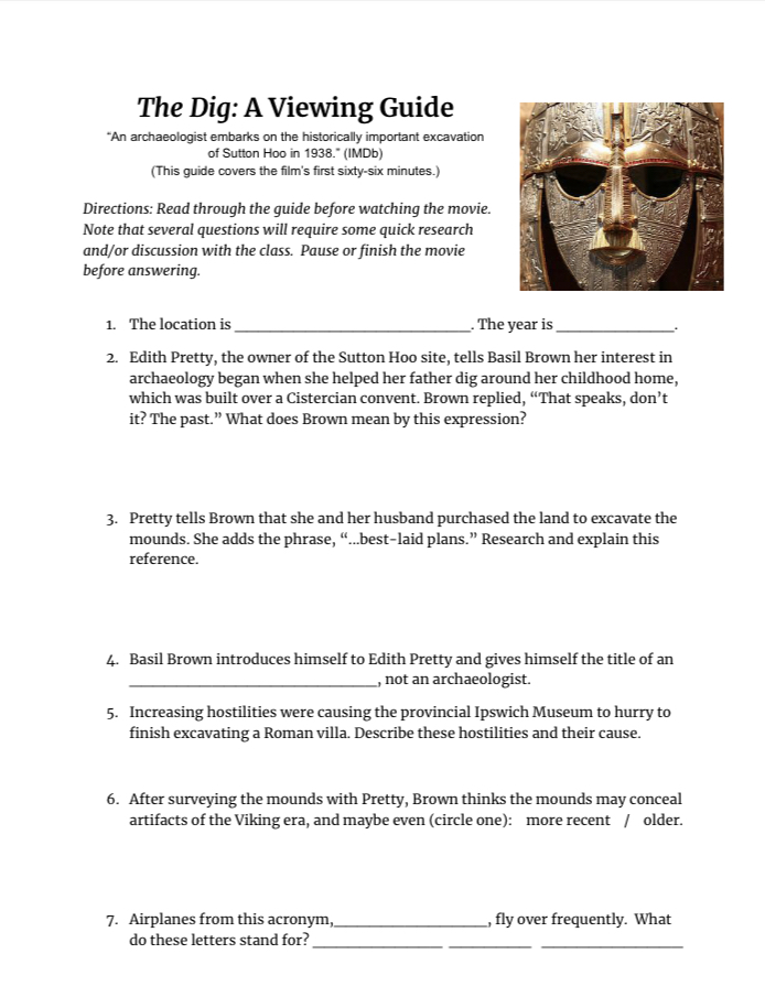 The Dig viewing guide on Sutton Hoo discoveries