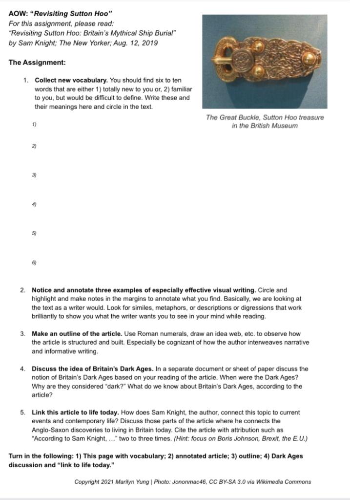 Sutton Hoo article handout