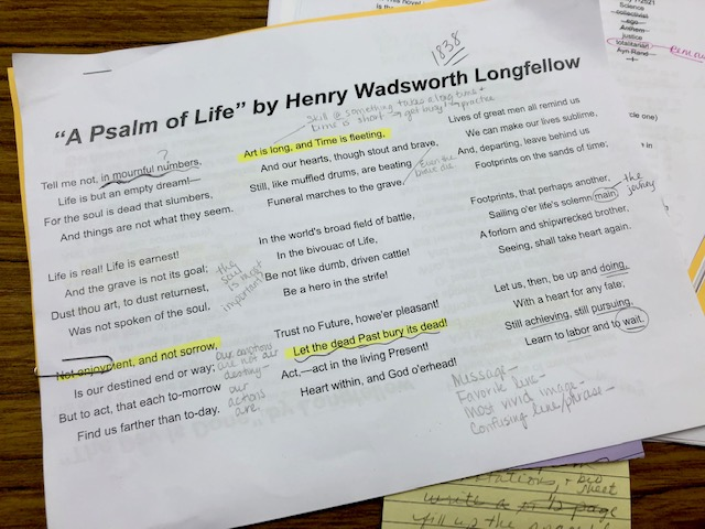 "Longfellow poem ""A Psalm of Life"""