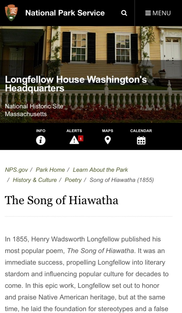 an article from the National Park Service about Song of Hiawatha